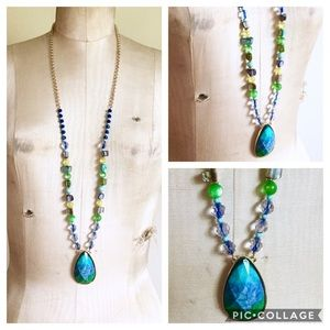Jewelry - Long blue green beaded necklace